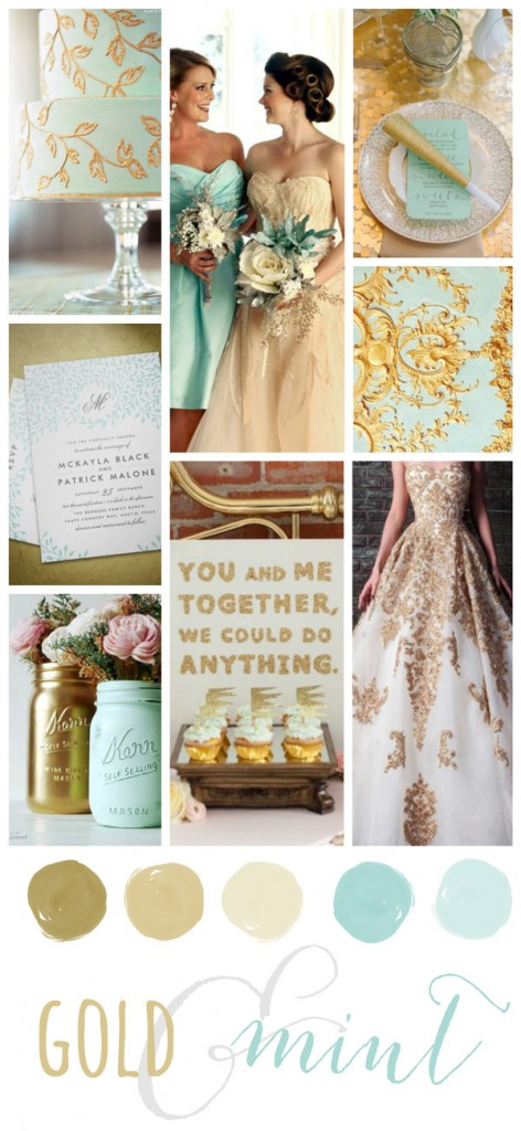 Wedding mood board featuring shimmery gold paired with mint.