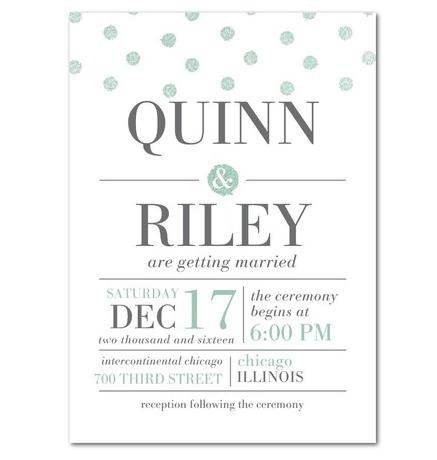 Mint glitter dots wedding invitations by Sarah Hawkins Designs for Wedding Paper Divas