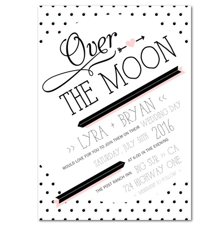 Whimsical modern black white and pink wedding invitations by Magnolia Press for Wedding Paper Divas
