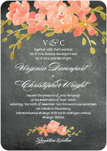 chalkboard floral wedding invitations by coloring cricket for wedding paper divas - Summer Wedding Invitations