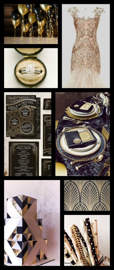 black, gold and blush gatsby wedding inspiration