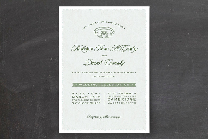 Classic, elegant Claddagh wedding invitation design in pretty Irish green, from Minted.
