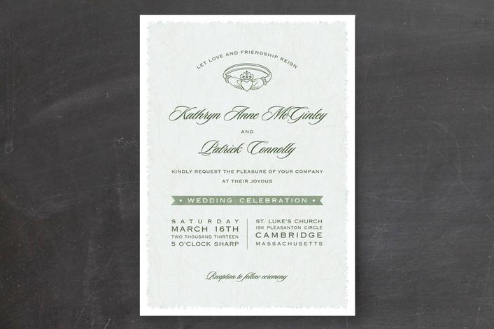 Classic, elegant Claddagh wedding invitation design in pretty Irish green, from Minted.