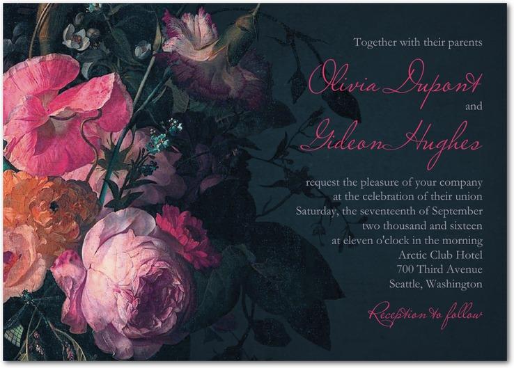 Midnight Bouquet Wedding Invitations from Wedding Paper Divas