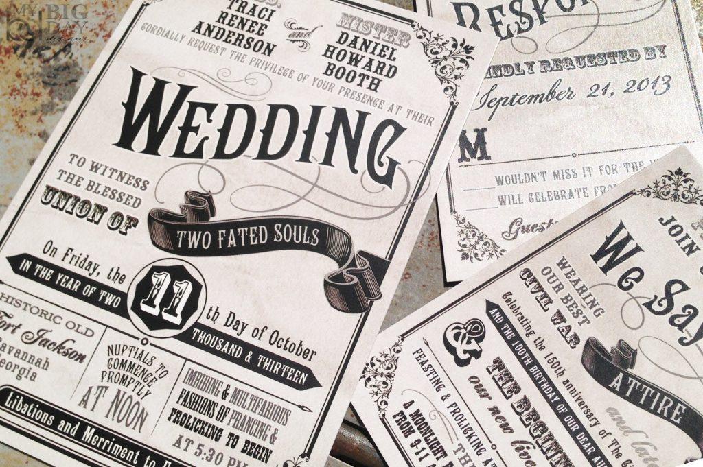 Civil Union Old Fashioned Wedding Invitation Set From Etsy