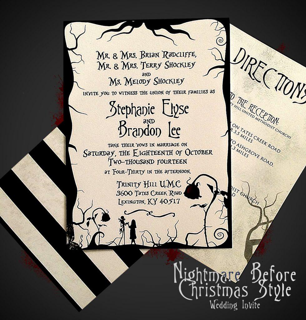 Nightmare Before Christmas Themed Wedding Invitations