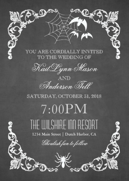 Dark and debonair invitations for gothic weddings chalkboard bats spiderweb halloween wedding invitations from zazzle filmwisefo