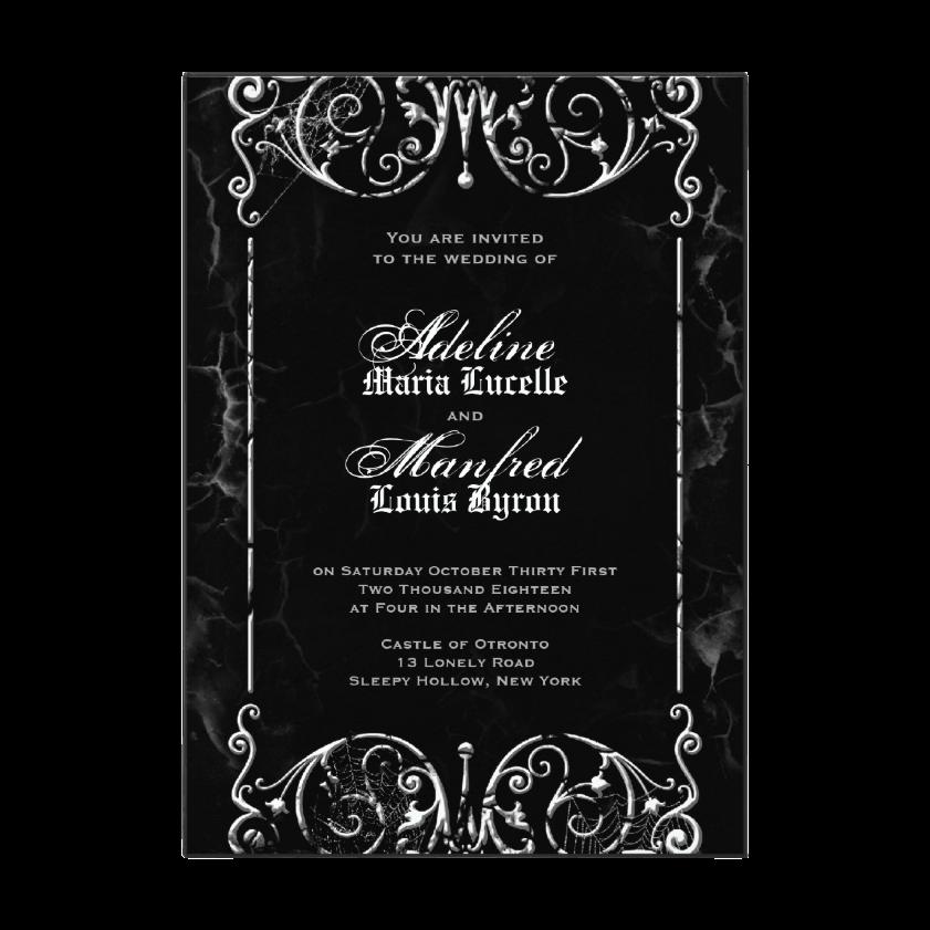 Gothic Victorian Black & White Halloween Wedding Invitation from Zazzle