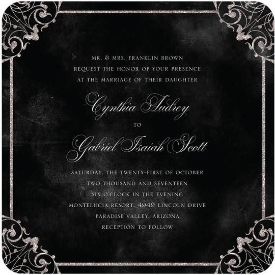 Elegant Vows Black Wedding Invitation from Wedding Paper Divas
