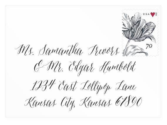 Wedding invitation envelope mock-up with Asterism font (link to download).