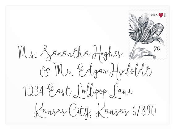 Wedding invitation envelope mock-up with Boho Script font (link to download).