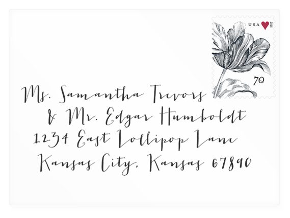 Wedding envelope address mock-up in calligraphy font Jacques & Gilles (link to download).