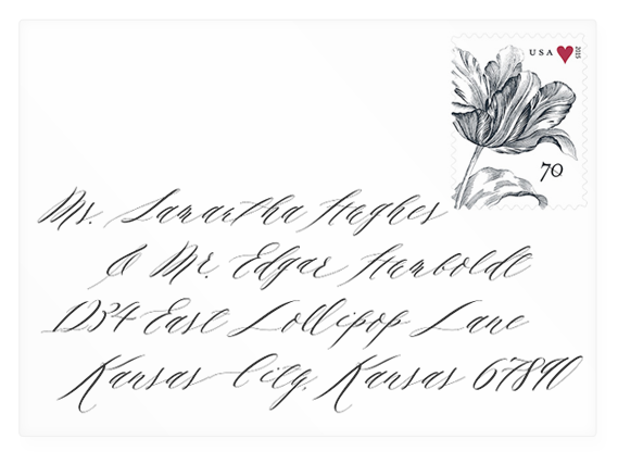 Wedding envelope mock-up with address in Marguerite font (link to download).
