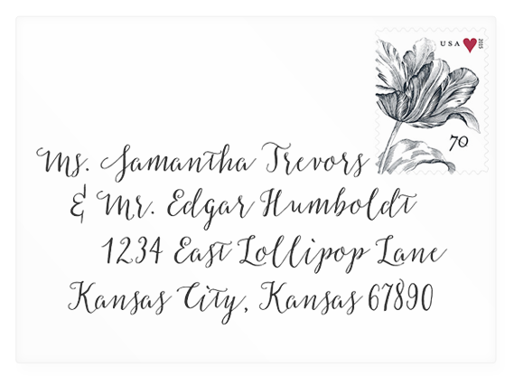 Calligraphic address wedding envelope mock-up using the Salt & Spice font (link to download).