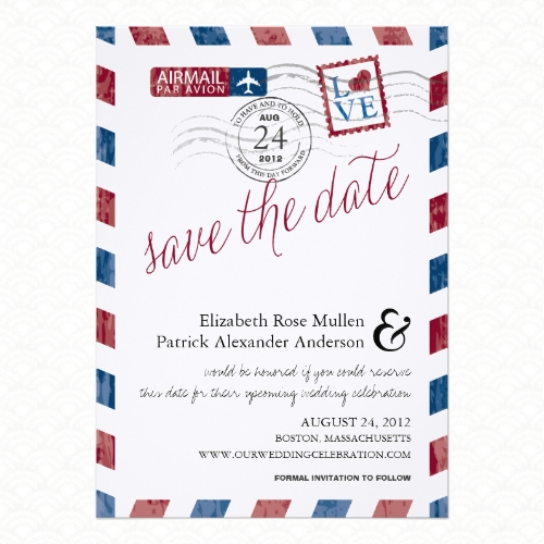 Vintage Airmail Save the Date Card Design