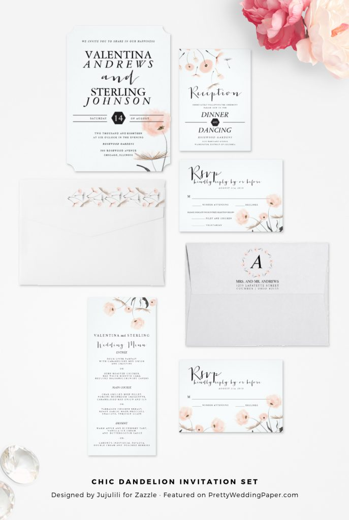 Chic modern dandelion wedding invitations collection.