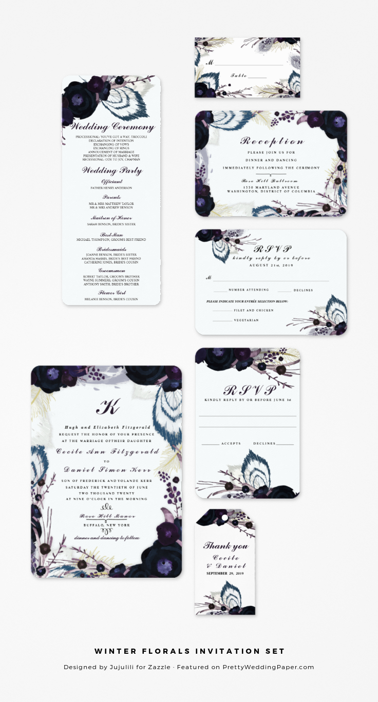 Winter Florals Purple Wedding Invitation Set from Jujulili