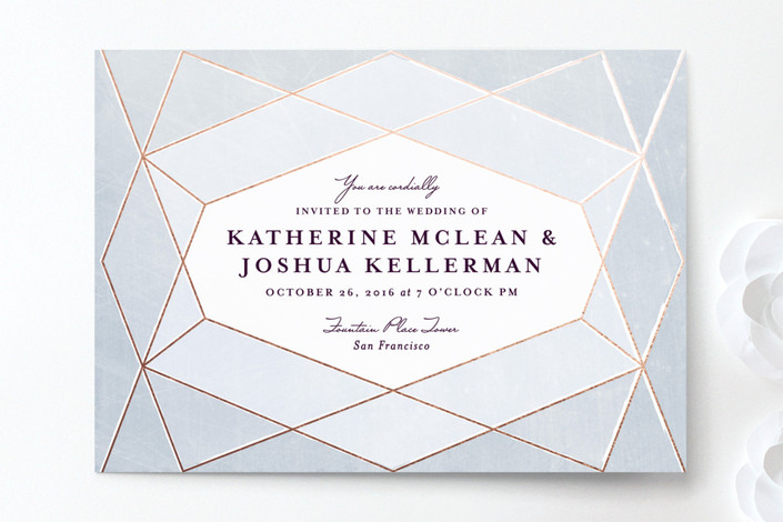 Abstract Jewel grey and gold geometric Wedding Invitations.