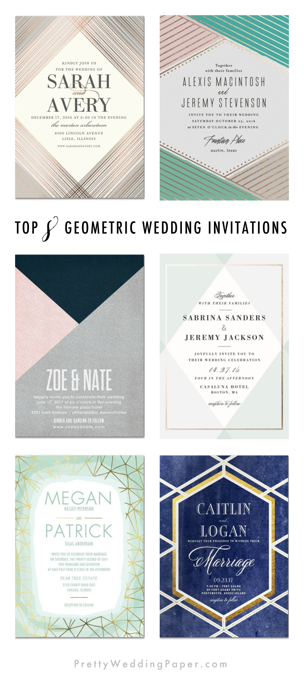 Top Eight Geometric Wedding Invitations. ♥ picked by prettyweddingpaper.com