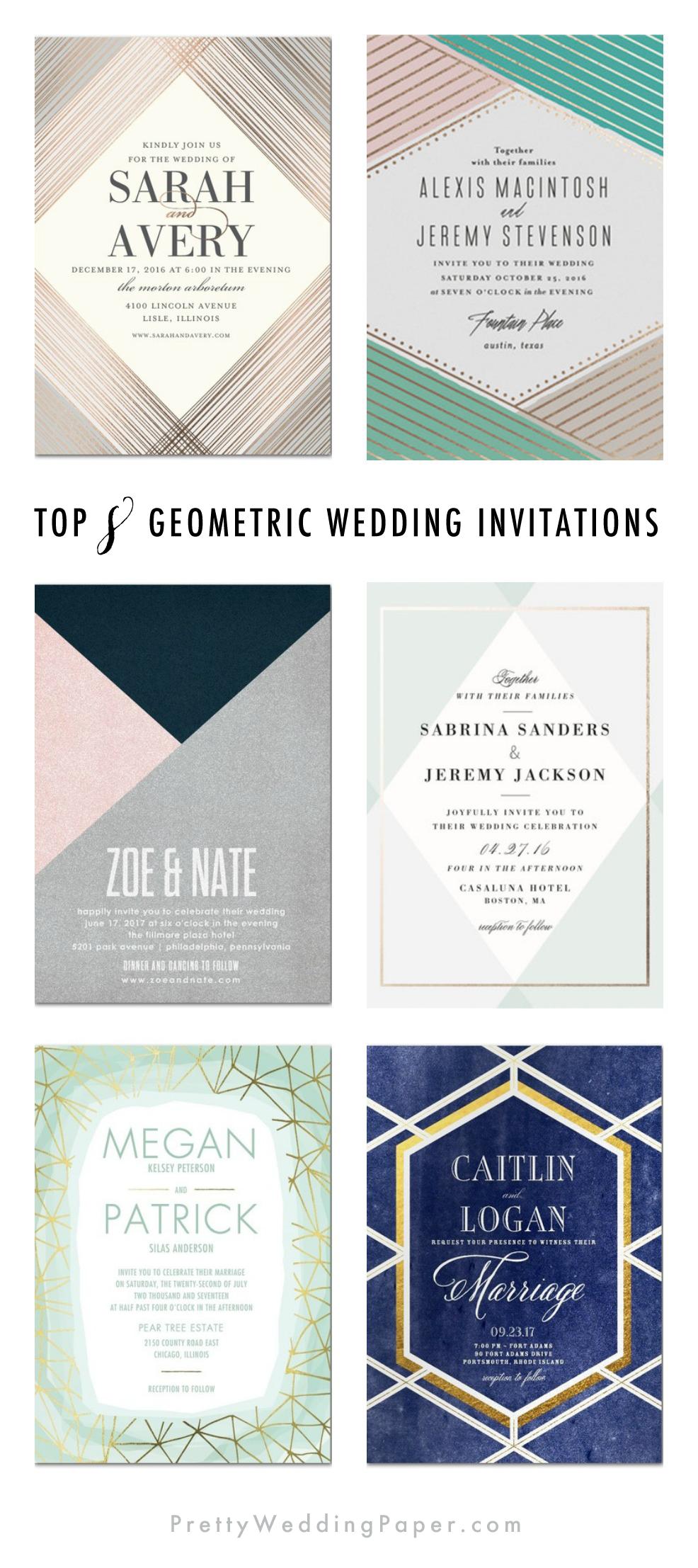 Top 8 Geometric Wedding Invitations: Pretty & Modern