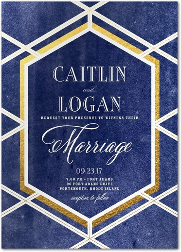 Twilight trellis geometric gem blue and gold wedding invitations.
