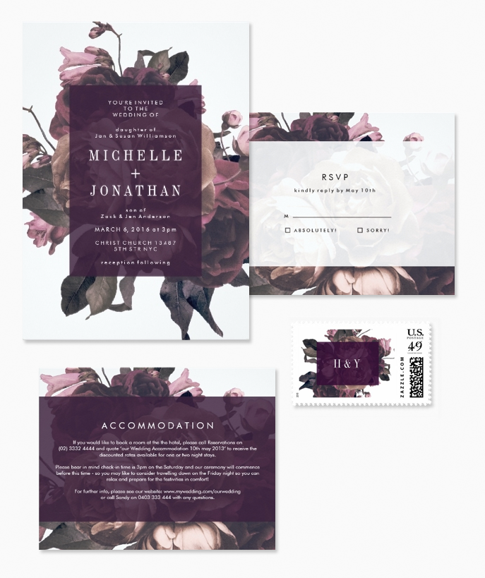 Dramatic and Vintage Purple Floral Wedding Invitations by Phrosne Ras, with matching RSVP cards, enclosure cards and monogram postage stamps.