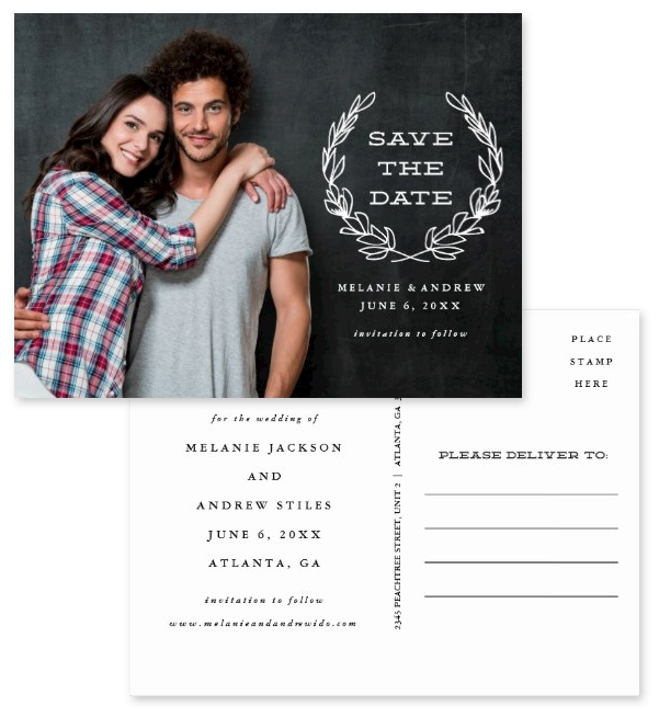 Chic rustic frame photo save the date postcards. Showing both front and back. Featuring a white rustic frame overlaid on an engagement photo with dark background.
