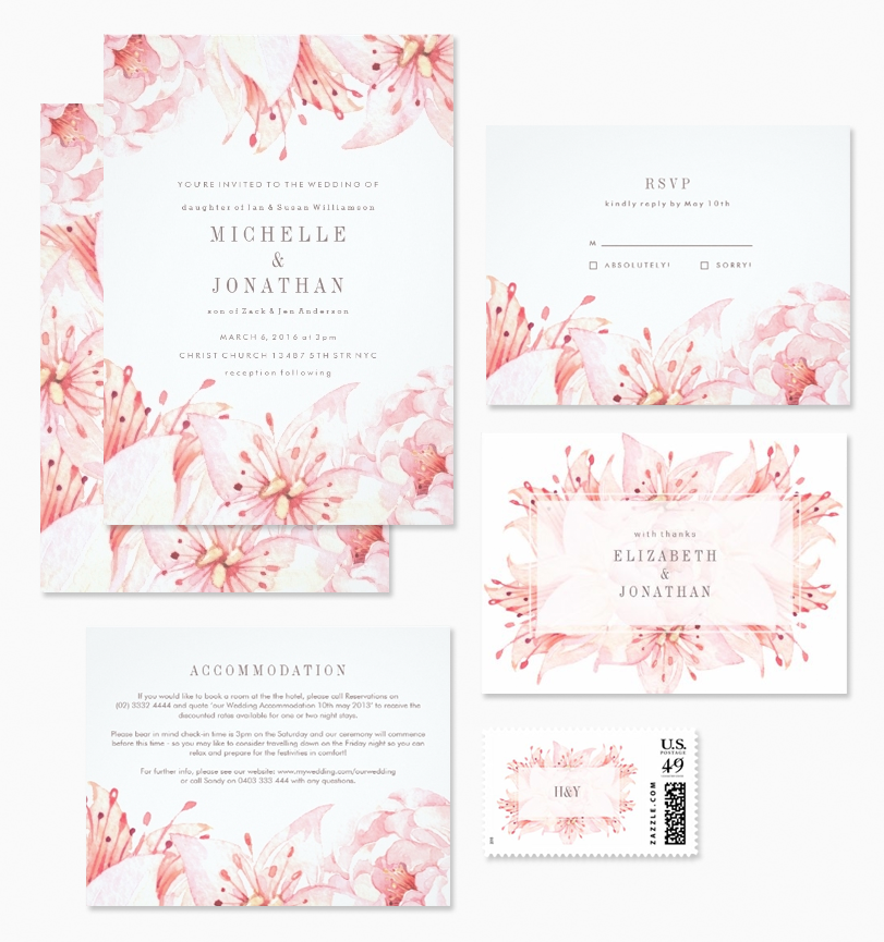 Watercolor Pink Floral Wedding Invitations with matching RSVP card, insert card, postage stamp and thank you card.