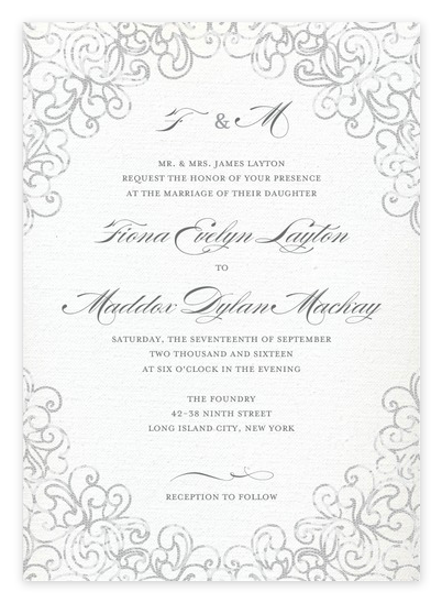 Elegant Grey Lace Wedding Invitations from Wedding Paper Divas