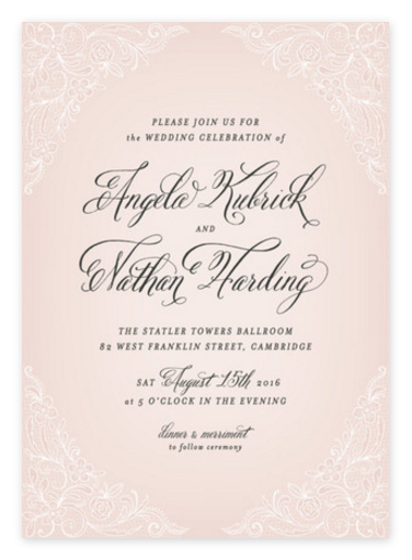 Romantic Blush Pink Lace Wedding Invitations from Minted