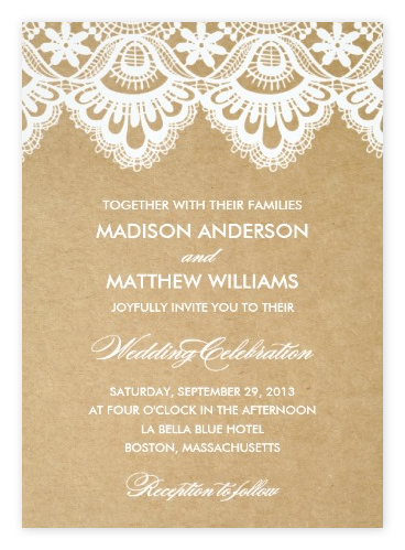 Rustic Lace Wedding Invitations Kraft from Zazzle