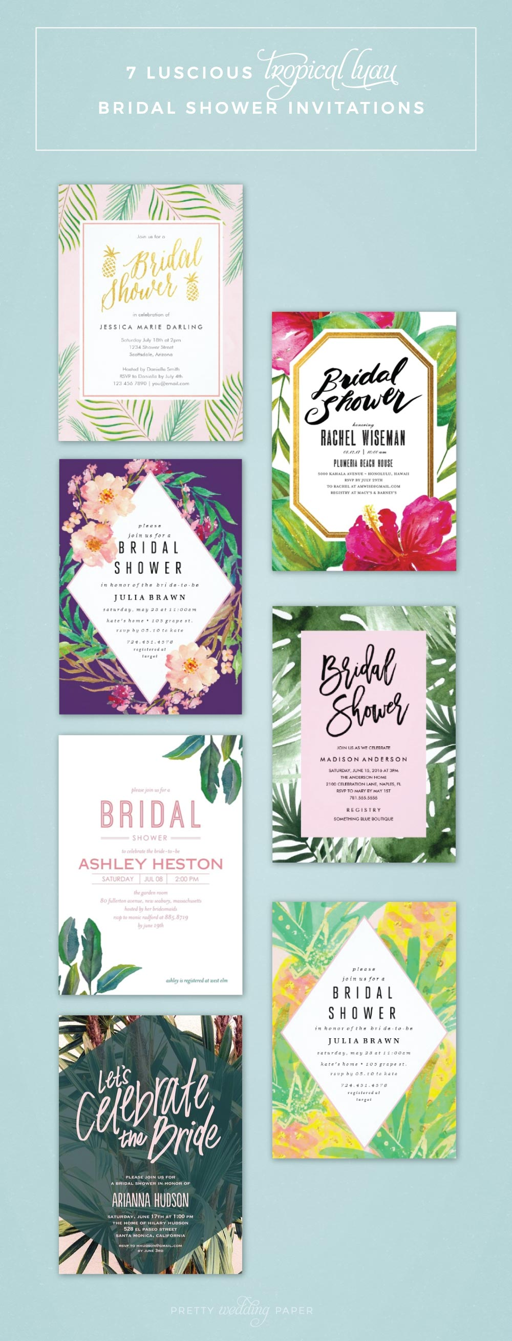 7 luscious tropical bridal shower invitations lets luau