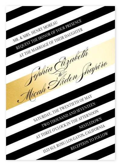 Marvelous Modern Angled Stripes Wedding Invitations