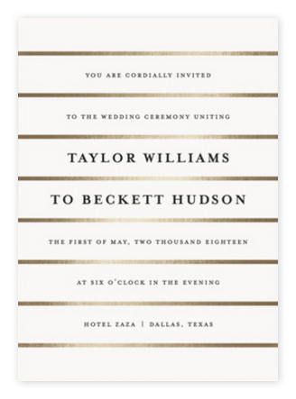 Elegant Gold & White Wedding Invitations from Minted
