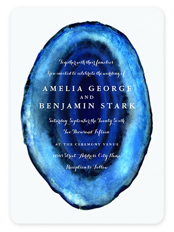 Blue Agate Slice Modern Wedding Invitations