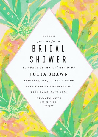 Bright Tropical Painted Bridal Shower Invitations from Zazzle