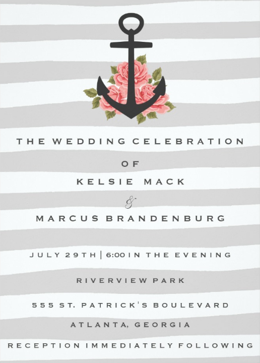 Chic Grey stripes Nautical Wedding Invitations