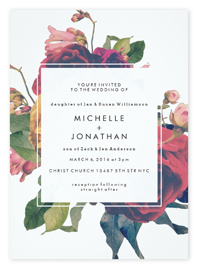 top 10 boho wedding invitations: pretty florals + feathers, Wedding invitations