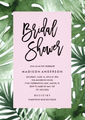 Fashionable Palm Tropical Bridal Shower Invitations from Zazzle