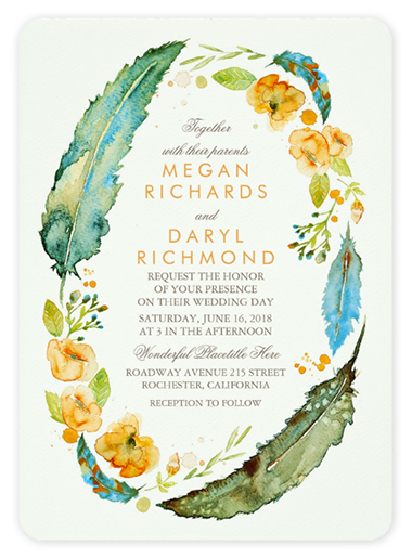 Charming Watercolor Feather + Floral Wreath Invitations