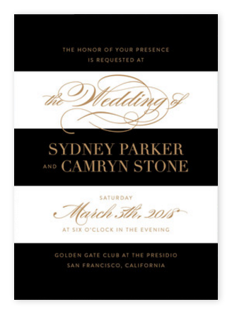 Glamorous Black & White Striped Wedding Invitations from Minted