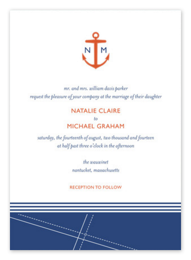 Modern Nautical Wedding Invitations - Orange and Navy