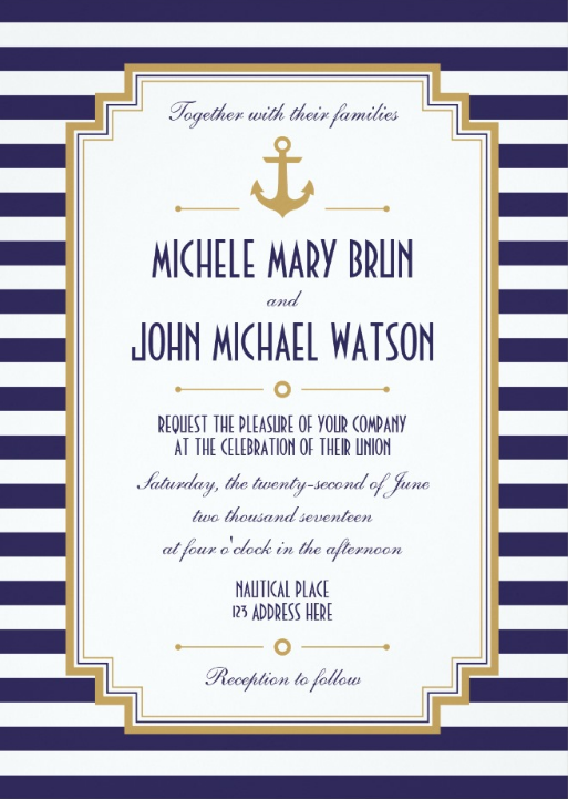Nautical Wedding Invitations 12 Beautiful AnchorThemed Designs – Nautical Wedding Invite