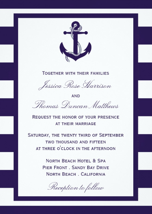 Classic Navy Stripes Nautical Wedding Invitations