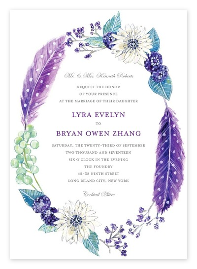 Purple + Teal Floral Wreath Boho Wedding Invitations From Wedding Paper  Divas