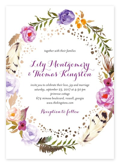 Rose Gold Floral Wreath Wedding Invitations from Wedding Paper Divas