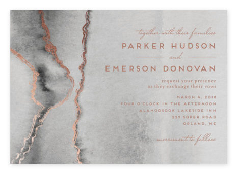 Rose Gold + Granite Wedding Invitations from Minted