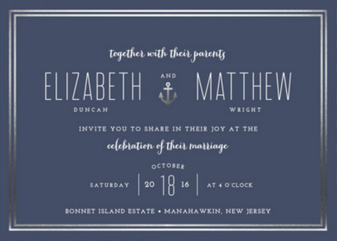 Foil Pressed Silver & Navy Nautical Wedding Invitations