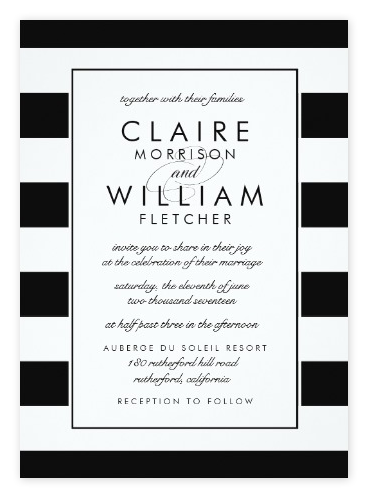 Simple Black U0026 White Striped Wedding Invitations