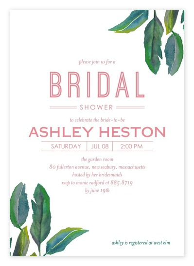 Simple White Tropical Bridal Shower Invitations from Wedding Paper Divas